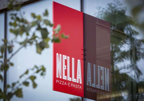 Signage by DesignScout seen at Nella Pizza e Pasta, Chicago - Nella Pizza e Pasta