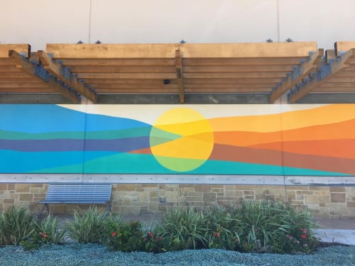 Murals by Avery Orendorf seen at The Shops at Arbor Walk, Austin - Abstract landscape mural