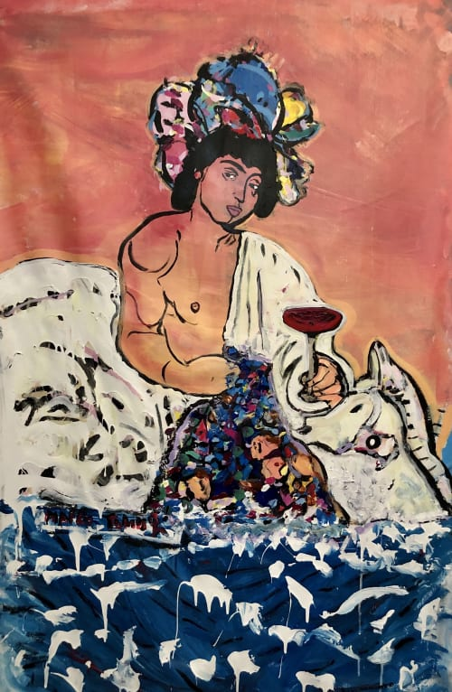 "Paintings by Marko Tomic seen at Belgrade, Belgrade - God of wine ""Dionysus"""