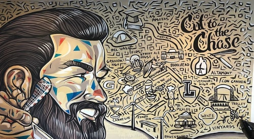 Murals by Trent Thompson seen at Cut To The Chase Barber Shop, Livermore - Cut To The Chase