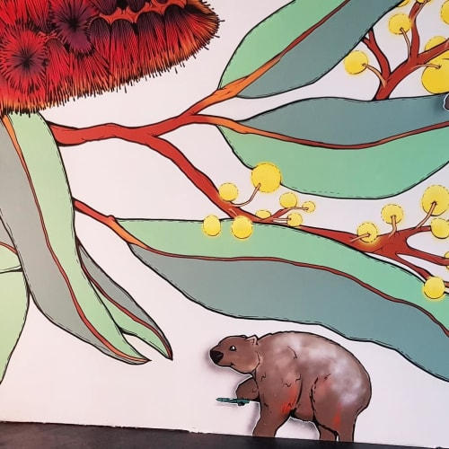 Murals by Sam Shennan seen at Canberra Southern Cross Club Woden, Woden - Henry's Family Restaurant Mural