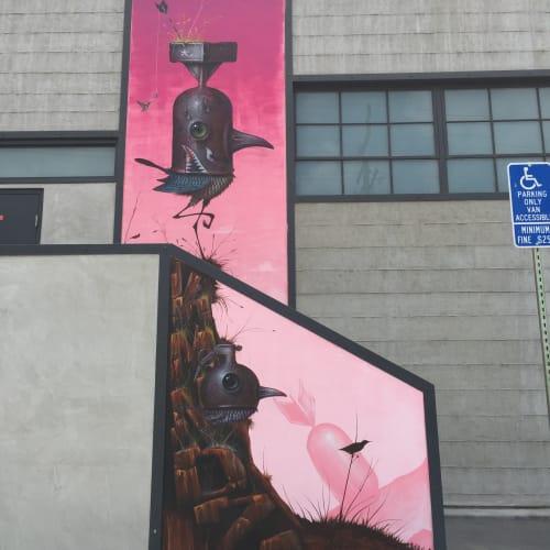 Murals by Johnny Rodriguez aka KMNDZ seen at 3D Retro, Glendale - Atomic Bird
