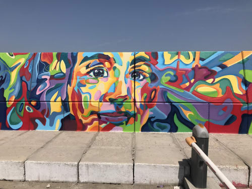 Murals by Maddy Butcher seen at ZAYED PORT-ABU DHABI, Abu Dhabi - Good Vibes