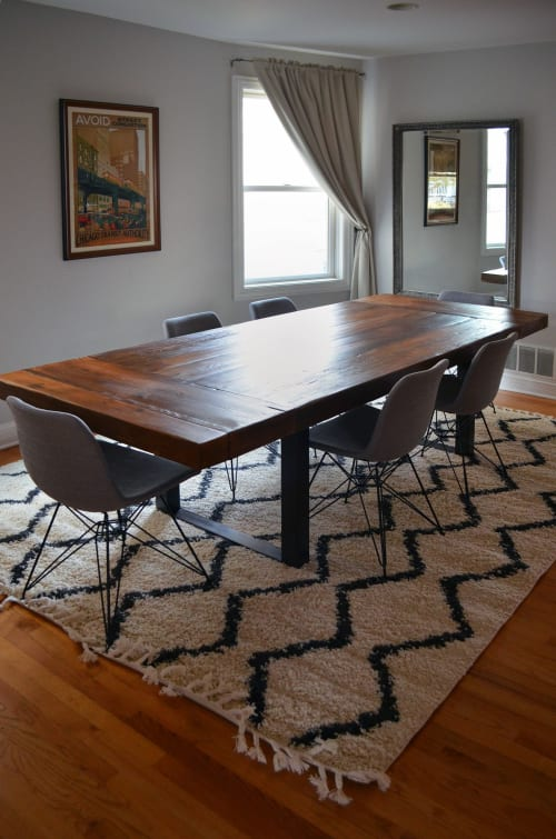 Tables by Abodeacious seen at Private Residence, Chicago - Reclaimed rustic wood table