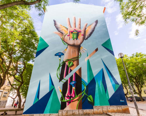 """Street Murals by MrKas seen at Cascais, Cascais - """"Someone will take a piece of you  forever"""""""