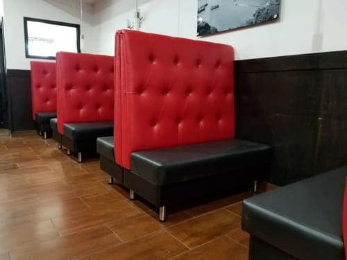 Benches & Ottomans by Build a Booth seen at Viet Hai Restaurant, Calgary - High button tufted backs