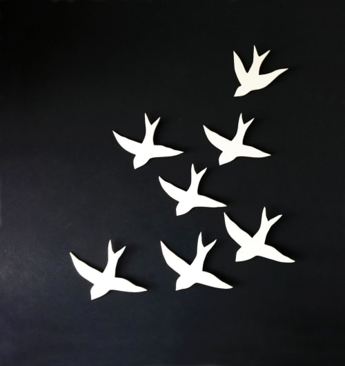 Art & Wall Decor by Elizabeth Prince Ceramics seen at Creator's Studio, Manchester - Large Set Of  7 Swallows Porcelain Bird