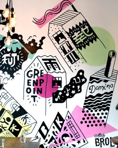 Murals by Brolga seen at Amami Sushi, Brooklyn - Amami Sushi Greenpoint Mural