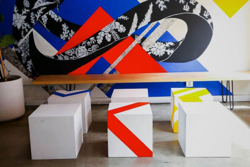 Murals by LAMKAT seen at Mega Bodega, Los Angeles - Geometric Collaboration