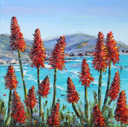 Paintings by Lisa Elley ART seen at Wente Estate Tasting Room & Winemakers Studio, Livermore - Palette Knife Painting in Oil, Big Sur