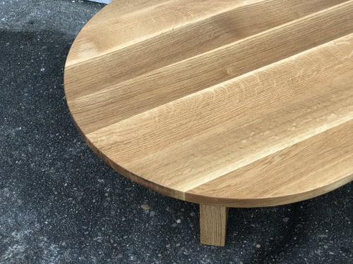Tables by Black Rose WoodCraft seen at Private Residence, Portland - White Oak Round Coffee Table