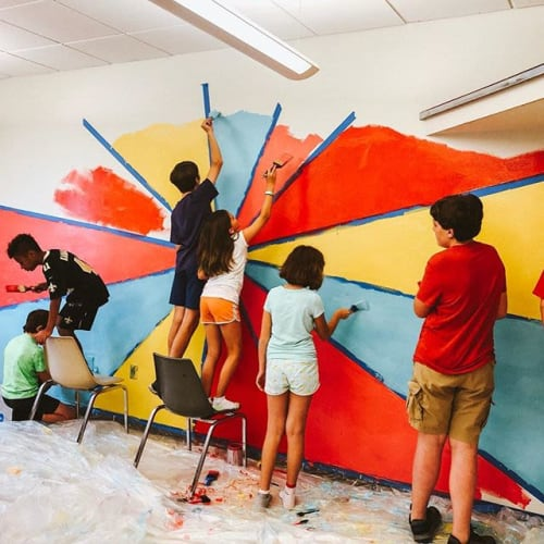Art Curation by EyeRoll Creative seen at Goldring-Woldenberg JCC - Metairie, Metairie - Shine Your Light Mural