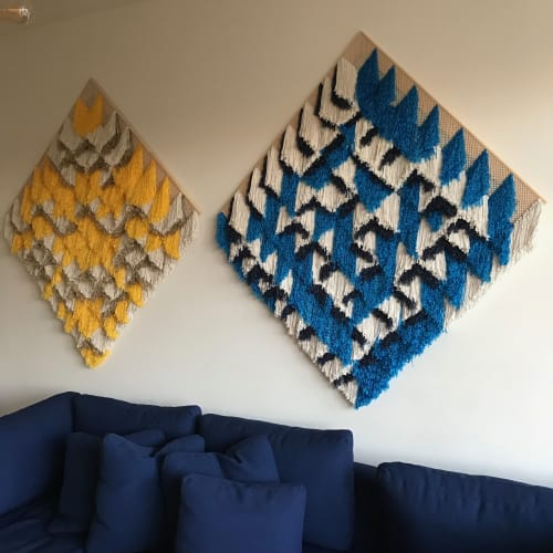 Wall Hangings by Fault Lines seen at Private Residence, New York - Barn Quilt Blue