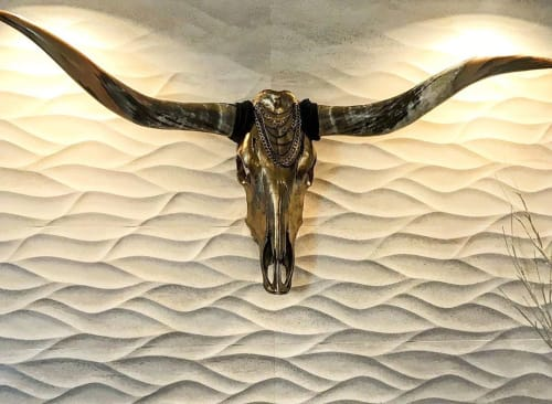 Wall Hangings by Gypsy Mountain Skulls seen at Iron Mountain, Salt Lake City - Longhorn