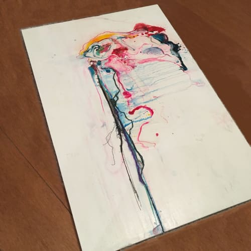 Paintings by Emma Balder seen at Au Darling, Mandeville - Abstract Painting with fibers