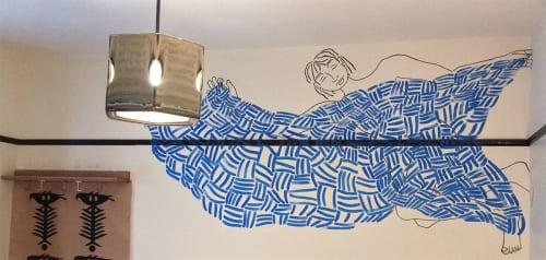 Murals by Kira Buckel seen at Freehand NYC, New York - Blue Blanket Boy