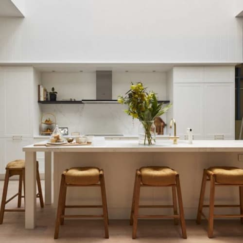Chairs by SATARA seen at Private Residence, Melbourne - Float Stool in Natural Oak and Cord by SATARA