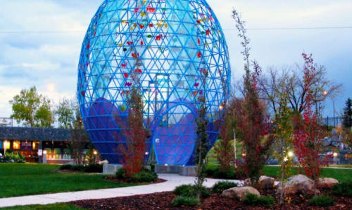 """Public Art by Brower Hatcher seen at Calgary Zoo, Calgary - """"Egg – the Unity of Diversity"""""""