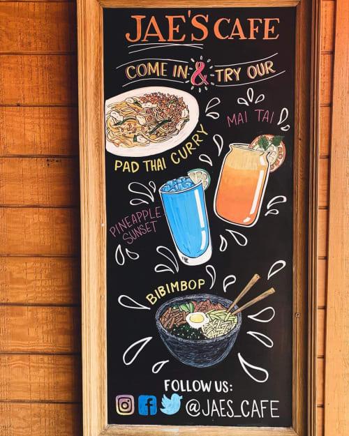 Murals by Chalkin About Boston seen at Jae's Café, Somerville - Jae's Cafe Chalkboard Menu