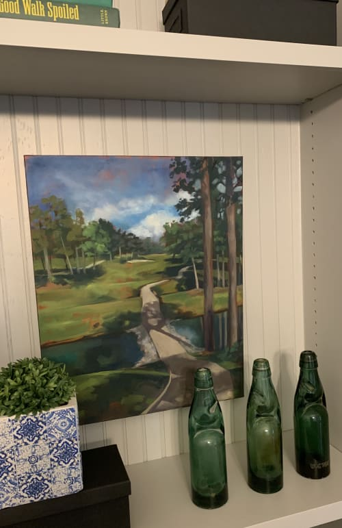 """Paintings by Nancy Everett seen at Private Residence, Athens - Original oil """"View of Number seven"""" livens up bookshelves!"""