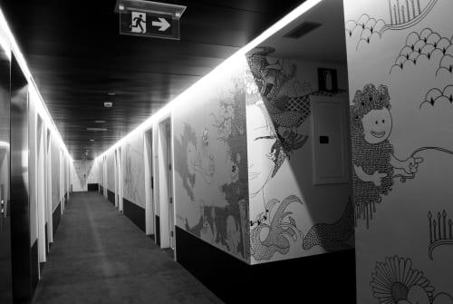 Murals by Yoshi Sislay seen at Private Residence, Barcelona - Vincci Bit