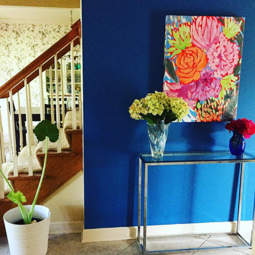Paintings by Laura Dro seen at Private Residence - Colorful Flower Painting