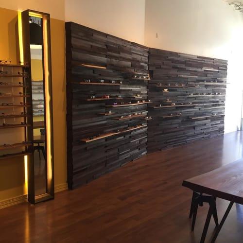 Wall Treatments by Jeff Burwell seen at Hyper Optics Optometry, San Francisco - Wood Wall