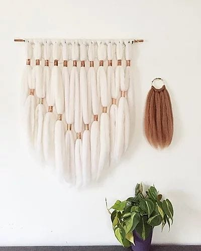 Macrame Wall Hanging by ORE + WOOL by Tarah Boyd seen at Private Residence - Copper weaving