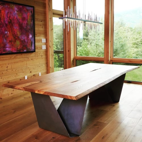 Tables by Vermont Tree Goods seen at Private Residence, Stowe - Live edge table