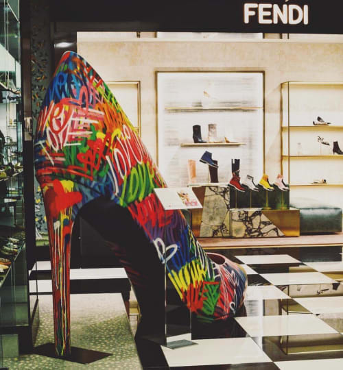 Public Sculptures by Chris Riggs seen at Bloomingdale's, New York - Love Shoe Sculpture