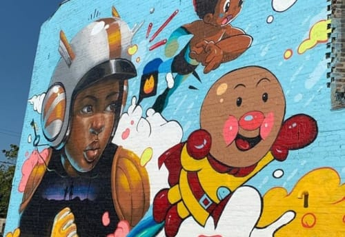 Street Murals by Kayla May seen at 1843 E 79th St, Chicago - Kids Superheros Mural