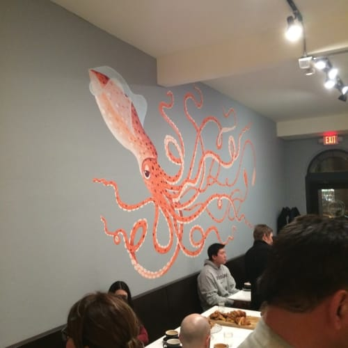 Street Murals by Kelly Allen seen at Squibb Coffee & Wine Bar, Grand Rapids - Giant Squid Mural