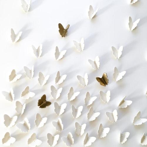 Art & Wall Decor by Elizabeth Prince Ceramics seen at Creator's Studio, Manchester - 55 Original White Porcelain + Gold Ceramic Butterflies
