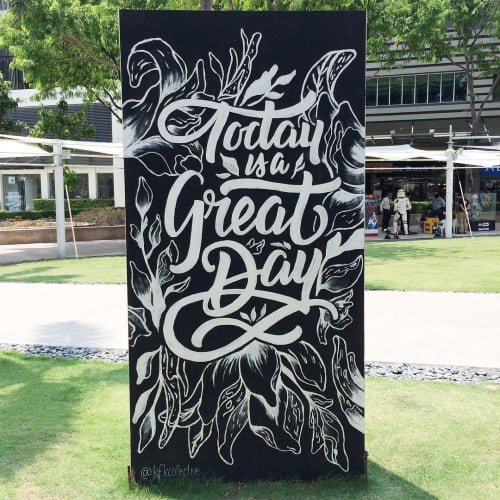 """Murals by KFK Collective seen at Bonifacio High Street, Taguig - """"Today is a Great Day"""""""
