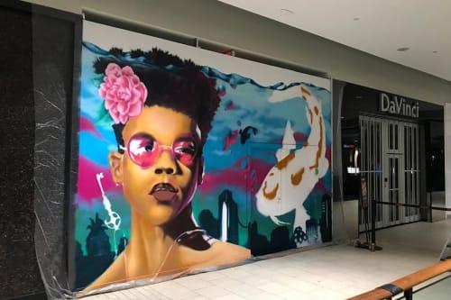 Murals by AJA Louden seen at Kingsway Mall, Edmonton - Unlocking Big Carp Energy