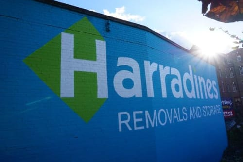 Street Murals by C-That seen at Harradines Removals & Storage Ltd, London - Mural
