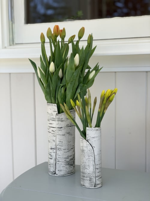Vases & Vessels by B. Cronk Ceramics seen at Private Residence, Kennebunkport - White Porcelain Birch Bark Vases