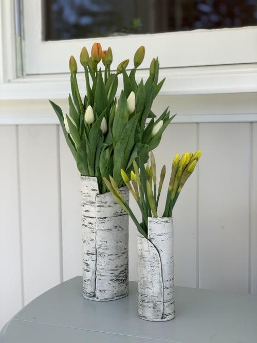 Vases & Vessels by B. Cronk Ceramics seen at Private Residence, Kennebunkport - White Porcelain Birch Bark Vases
