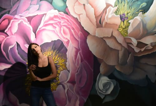"Murals by Nicolette Atelier seen at Pinstripes, Beachwood - ""Bohemian Blooms"""