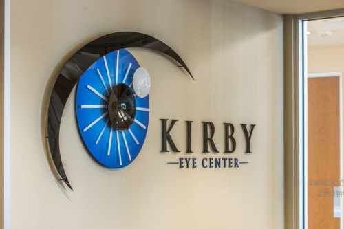 Sculptures by Carlyn Ray Designs seen at Kirby Eye Center, Dallas - Dr. Kirby's Logo