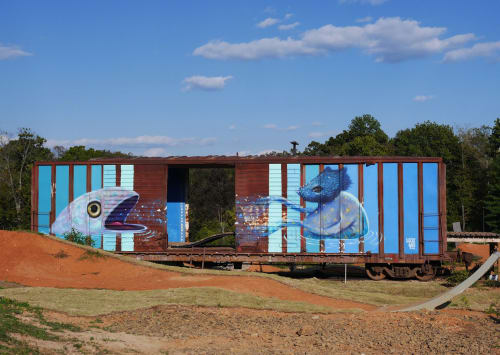 Murals by Lucas Aoki seen at The Railyard Bike And Dog Park, Rogers - The Rail Yard