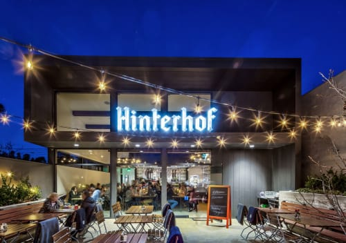 Architecture by ANX Architects seen at Los Angeles, Los Angeles - Hinterhof Restaurant & Biergarten