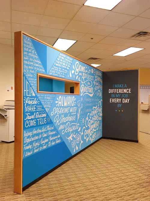 Murals by Ann Chen (Annlettering) seen at CHG Healthcare, Midvale - CHG Healthcare Purpose Mural