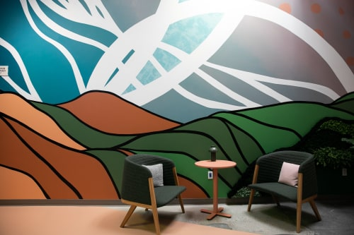 Murals by Strider Patton seen at Google HQ, Mountain View, CA, Mountain View - Living Wall Mural at Google