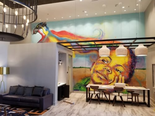 Murals by Jay F. Coleman seen at Private Residence, Brentwood - Indoor Mural