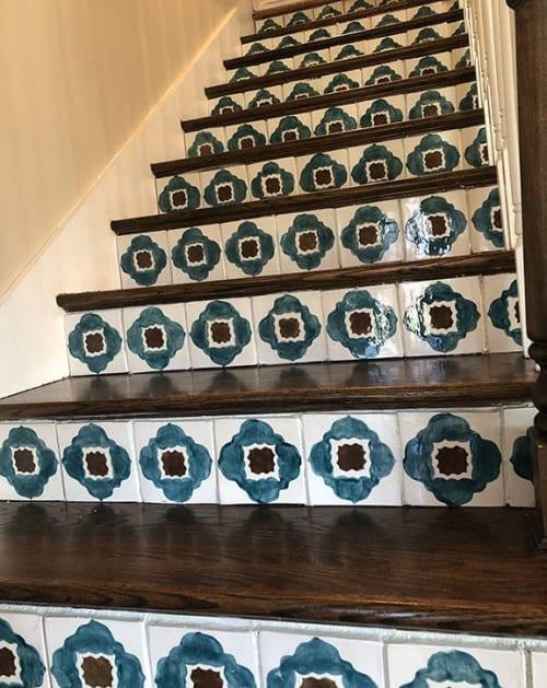 Tiles by Kristen Falkirk - Falkirk Tileworks seen at Private Residence, Louisville - Custom Stair Riser Tiles