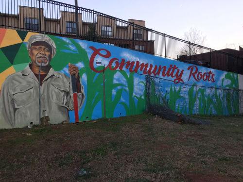 Street Murals by artofYungai seen at Nelson Street Southwest, Atlanta - Community Roots Mural