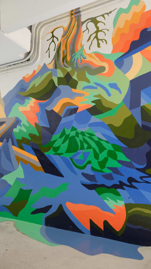 Street Murals by Ben Evely seen at 6085 Thunderbird Blvd, Vancouver - Thunderbird Parkade Mural