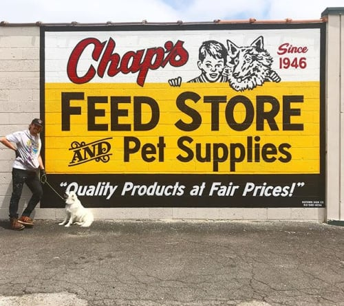 Signage by Motown Sign Co. seen at Chap's Feed Store, Livonia - chaps
