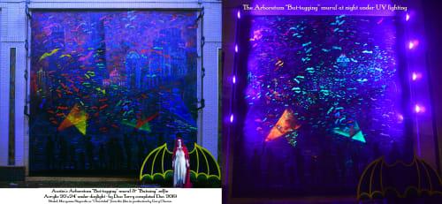 """Murals by Dan Terry seen at The Arboretum, Austin - Austin """"Bat-tagging"""" mural"""